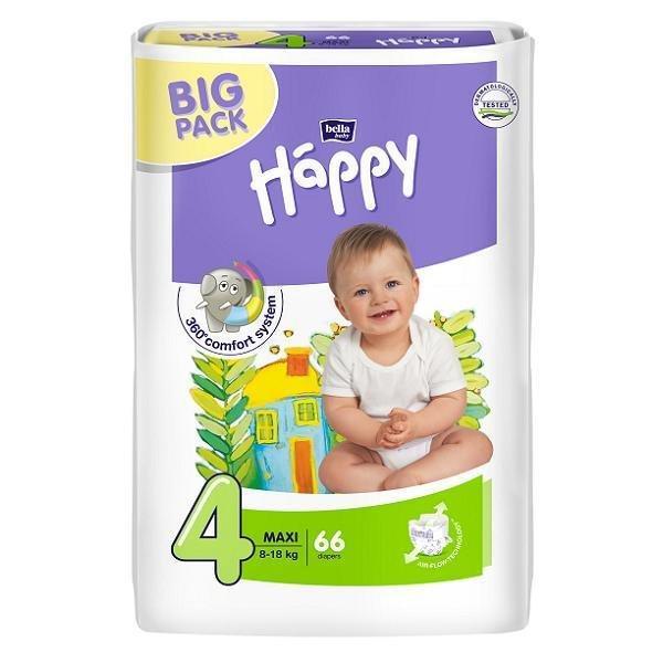 Підгузки Bella Happy Maxi 4 BIG PACK ( 66 шт / 8-18 кг)