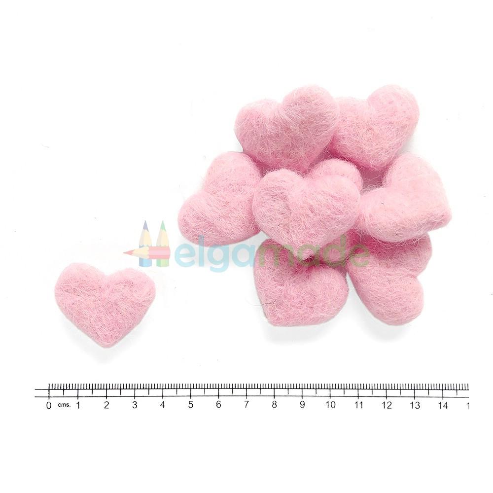 Сердце из шерсти РОЗОВОЕ, 3.2х2.8 см, 1 шт