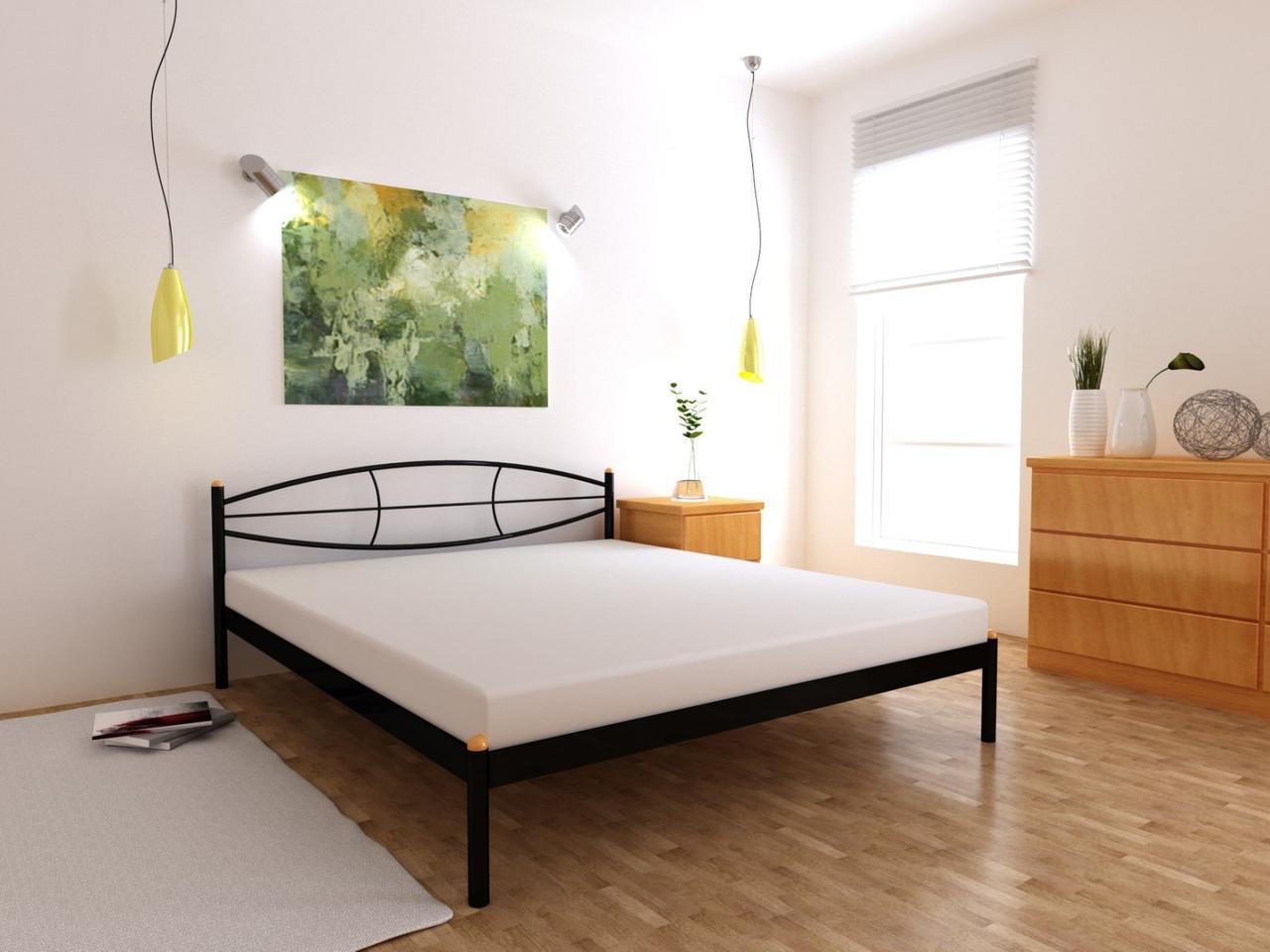 Металеве ліжко Аура односпальне 80х190 см, ортопедична