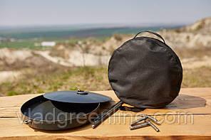 Сковородка 40 см с крышкой и чехлом Буковинка