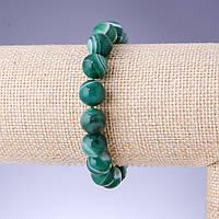 Браслет Агат глазковый светло зеленый гладкий шарик d-10мм обхват 18см на резинке купить оптом в интернет