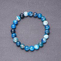 Браслет Агат глазковый голубой гладкий шарик d-10мм обхват 18см на резинке купить оптом в интернет магазине