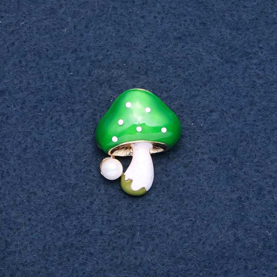 """Брошь """"Грибочек"""" зеленая шляпка 23х30мм цвет металла """"золото"""""""