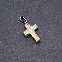 Кулон Крестик камень Гелиотроп 25х18мм