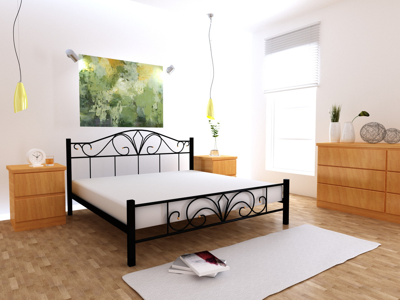 Металеве ліжко Валенсія односпальне 80х190 см, ортопедічна