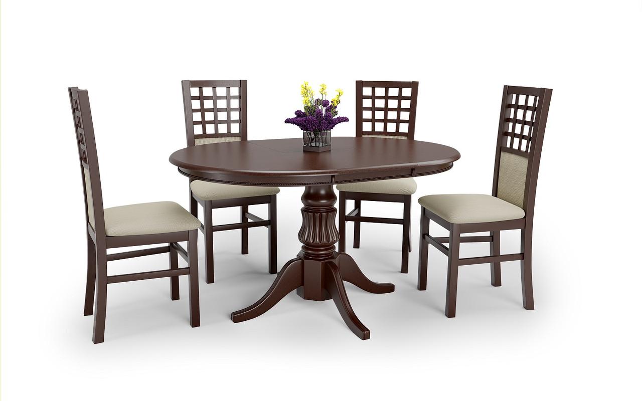 """Круглий розкладний стіл """"William"""" від Halmar (темний горіх, білий) 90*90см"""