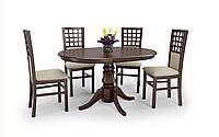 """Круглий розкладний стіл """"William"""" від Halmar (темний горіх, білий) 90*90см, фото 1"""