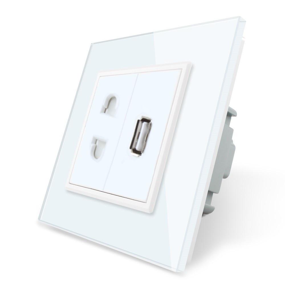 Розетка универсальная и USB розетка Livolo цвет белый стекло (VL-C7C1AUSB-11)