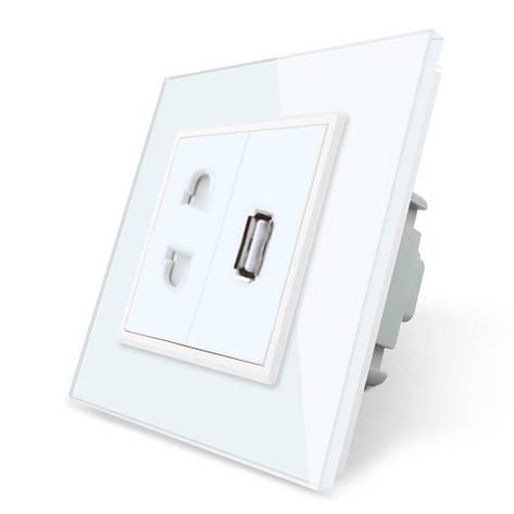 Розетка универсальная и USB розетка Livolo цвет белый стекло (VL-C7C1AUSB-11), фото 2