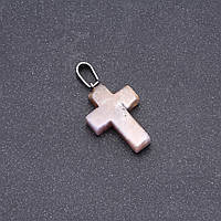 Кулон Крестик камень Моховый Агат 25х18мм