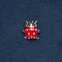 """Брошь """"Божья коровка"""" 22х23мм серия насекомые цвет металла """"золото"""""""