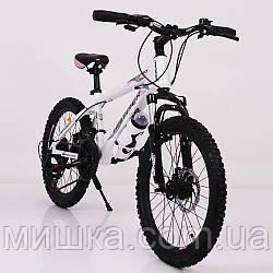 """Стильный спортивный алюминиевый велосипед """"S200 HAMMER"""" Колёса 20*2,25, Рама 12'', бело-розовый"""