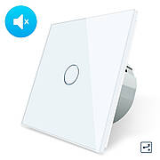Бесшумный сенсорный проходной выключатель Livolo, цвет белый, стекло (VL-C701SQ-11)