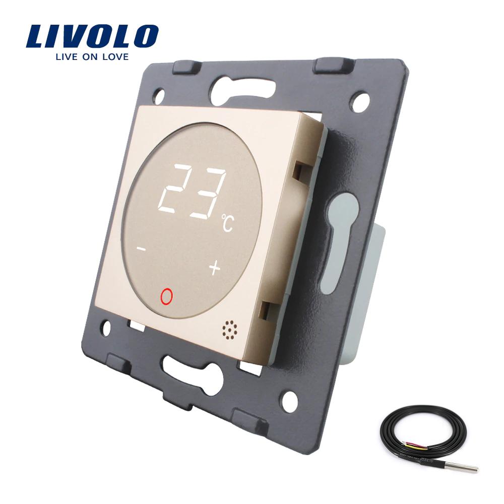 Модуль терморегулятор Livolo с датчиком температуры пола цвет золотой (VL-C7-01TM2-13)