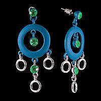"""Серьги-пусеты-подвески с зелеными стразами, большими синими кольцами\под """"серебро"""" 55*25мм купить оптом в"""