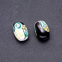 Фурнитура Бусина керамика Сова зеленая фас. 2 шт. 22х16мм