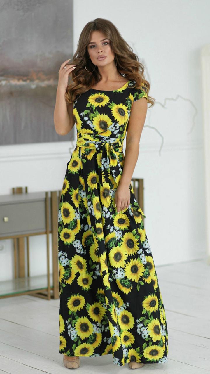 Длинное летнее черное Платье с цветочным рисунком 10210