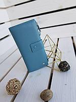 Кожаный женский кошелек Dr.Bond размером 19x9.5x3 см Голубой