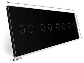 Лицевая панель для сенсорного выключателя Livolo 8 каналов черный стекло (VL-C7-C2/C2/C2/C2-12), фото 2