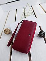 Женский кожаный кошелек размером 19x9,5x3 см Красный