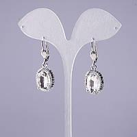 Серьги с белыми кристаллами d-19х15мм L-40мм