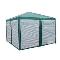 Туристическая палатка, шатер, садовый с москитной сеткой GreenCamp, 3х3 метра, цвет зеленый +Под