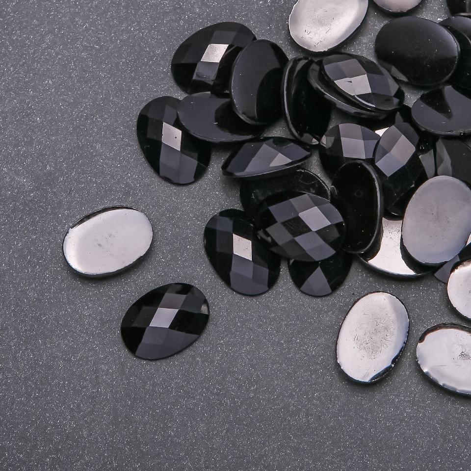 "Кабошон ""Черный кристалл"" пластик d-13х18мм фас. 80шт."