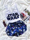 Шовкова піжама Стар Топ білий на бретелях ( регулюються) і шортики синього кольору Шовк Армані, фото 5