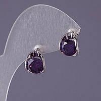 Серьги с сиреневыми кристаллами Овалы 12х10мм