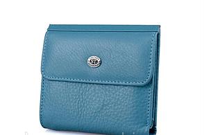 Небольшой женский кожаный кошелек (902) голубой