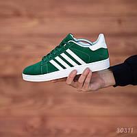 Кеды мужские Adidas Gazelle замшевые яркие адидасы зеленые с белой подошвой, ТОП-реплика, фото 1