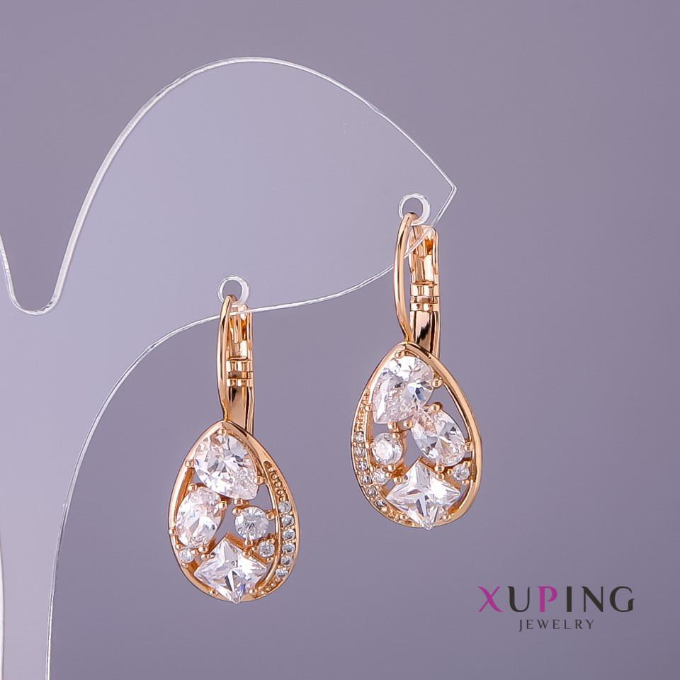Серьги Xuping белые камни d-12мм L-17мм цвет золото