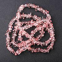 Бусины Халцедон розовый крошка d-7+-мм L-85см