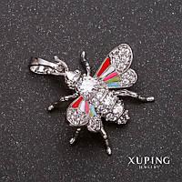 Кулон Xuping Мушка с белыми стразами 17х18х20мм цветная эмаль родий