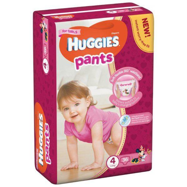 Подгузники-трусики Huggies Pants для девочек 4 ( 36 шт / 9-14 кг)