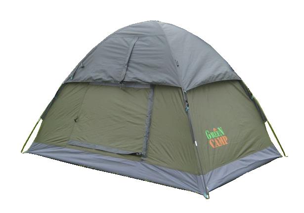 Туристическая палатка двухместная для отдыха GreenCamp, цвет серый, фото 2
