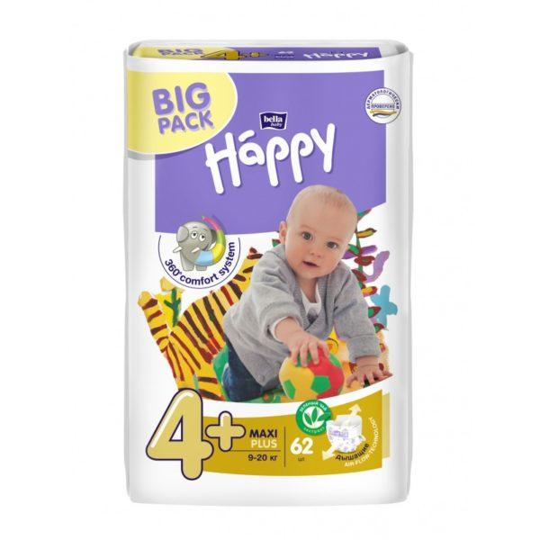 Подгузники Bella Happy Maxi 4+ BIG PACK ( 62 шт / 9-20 кг)