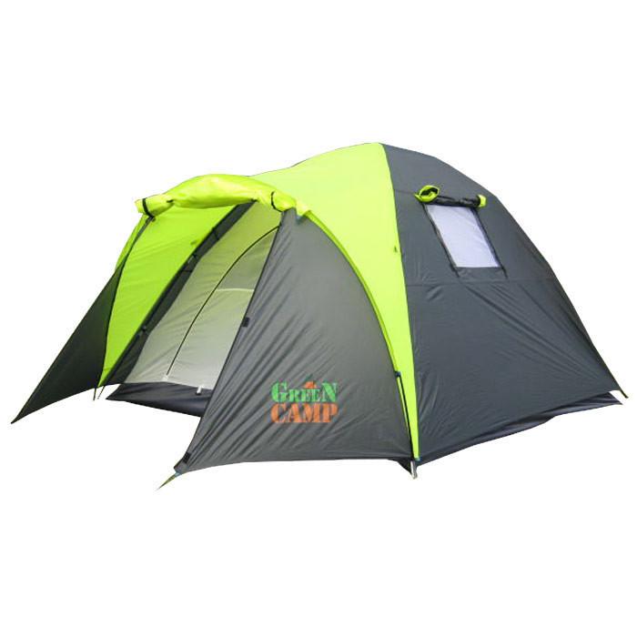 Туристическая палатка трехместная для отдыха GreenCamp, цвет серо-салатовый