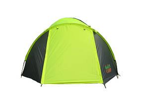 Туристическая палатка трехместная для отдыха GreenCamp, цвет серо-салатовый, фото 2