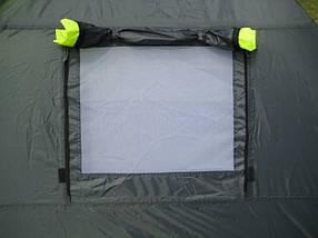 Туристическая палатка трехместная для отдыха GreenCamp, цвет серо-салатовый, фото 3