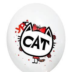 """0332 Шар 12"""" (30 см) Кот в красном платье на белом (BelBal)"""