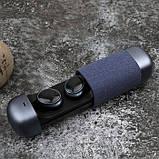 Беспроводные стерео наушники TWS 206 Bluetooth + бокс Синие, фото 2