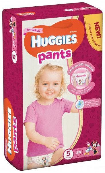Подгузники-трусики Huggies Pants для девочек 5 ( 34 шт / 12-17 кг)