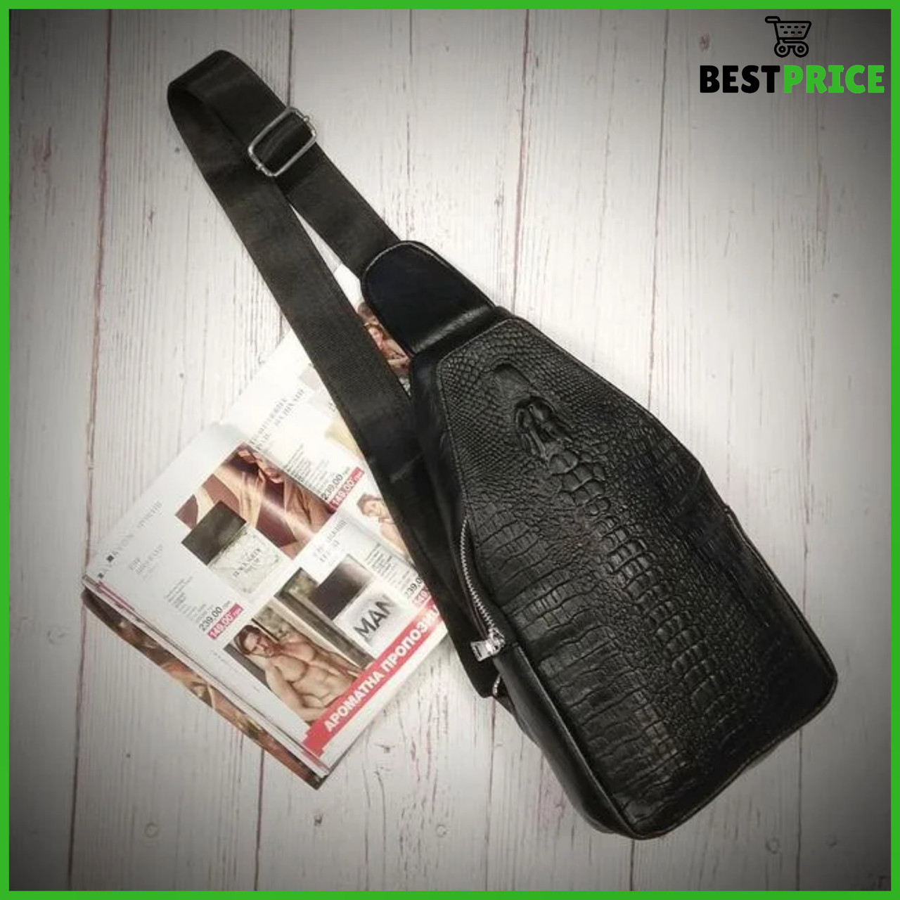 Мужская сумка на одно плечо, слинг Alligator. Черная / 2799