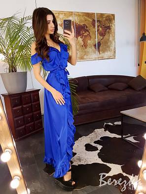 Шелковое синее платье в пол на запах, фото 2