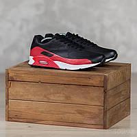 Мужские кроссовкикожаные демисезонные повседневные черно-красные с белой подошвой