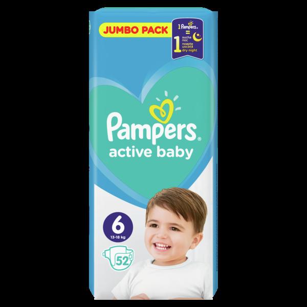 Подгузники Pampers Active Baby Размер 6 ( 52 шт / 13-18 кг ) JUMBO PAKC