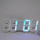 Электронные настольные LED часы с будильником и термометром LY 1089 белые (Синяя подсветка), фото 2