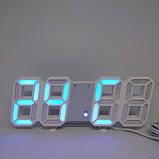 Электронные настольные LED часы с будильником и термометром LY 1089 белые (Синяя подсветка), фото 3