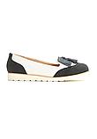 Туфли лоферы женские белые с черным Т1047, фото 6
